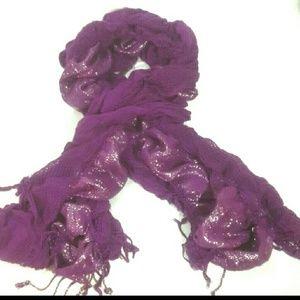 Purple Fringed Scarf